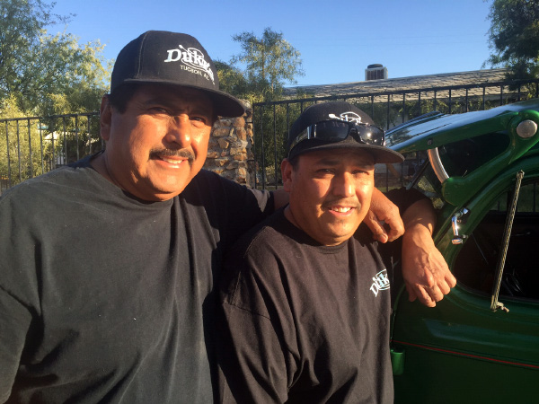 Alfred Teran Sr and Jr with Alfred Jr's '38 Chevy